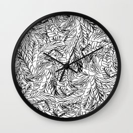 Black and White Feathers Wall Clock