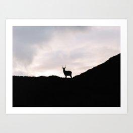 Oh deer - Scottish, highlands   landscape photo abstract black contrast nature scotland Art Print
