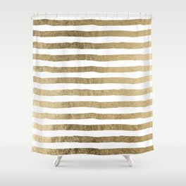 White faux gold elegant modern striped pattern Shower Curtain