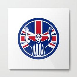 British American Football Referee Union Jack Flag Icon Metal Print