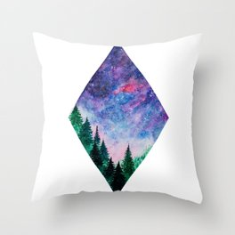 Forest in space Throw Pillow