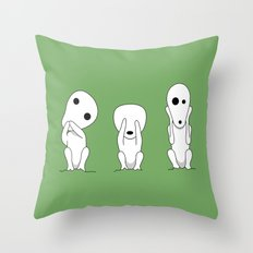 Three wise Kodamas Throw Pillow