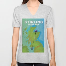 Stirling Scotland Travel poster, Unisex V-Neck