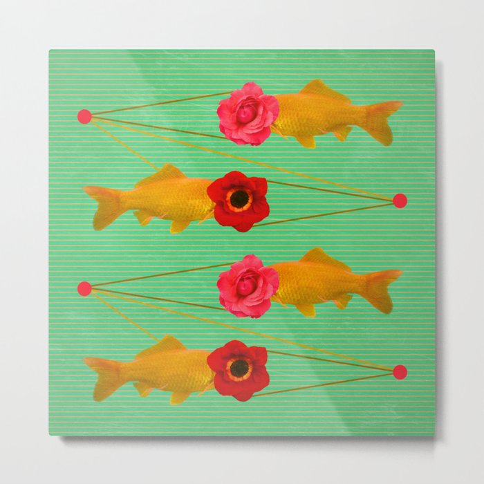 fishes and flowers Metal Print