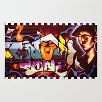 grafitti Area & Throw Rugs featuring Grafitti Strip Film by Squint Photography