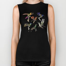 Six Colorful Hummingbirds Biker Tank