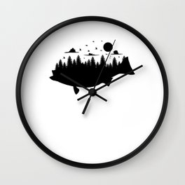 Bass Forest T Shirt Largemouth Fish Graphic Nature Fusion Wall Clock