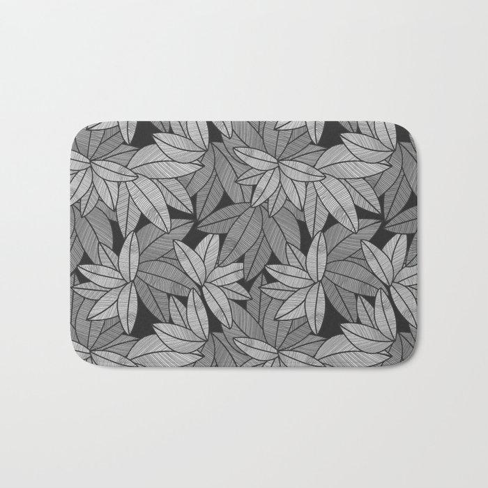 Black & White Leaves By Everett Co Bath Mat