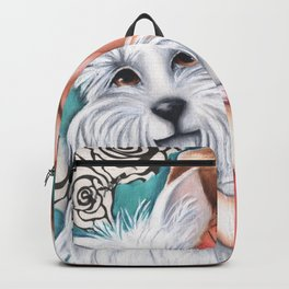 Sweet Coconut Original Art Schnauzer and girl Portrait Backpack