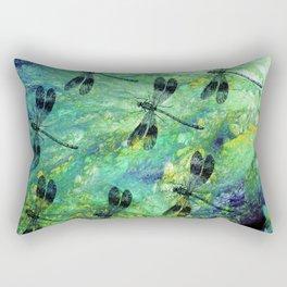 Seven Dragonflies on Green Blue Background Rectangular Pillow