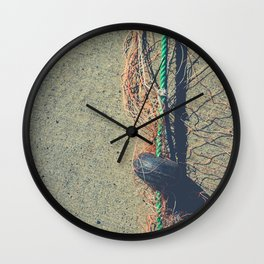 Fishnet with buoy on rope Wall Clock