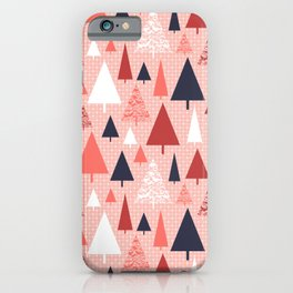 Living Coral snowy Christmas trees pattern iPhone Case