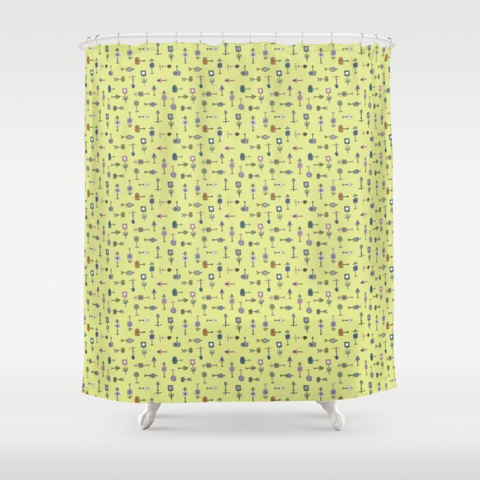Thingamabobs Pale Chartreuse Shower Curtain