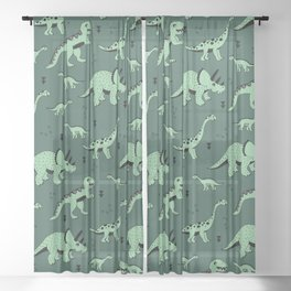 Dinosaur jungle love quirky creatures illustration Sheer Curtain