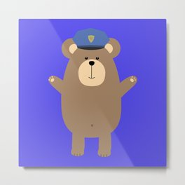 Happy Police Officer Metal Print