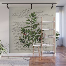 Chic paris scripts kitchen artwork french botanical leaf olive Wall Mural