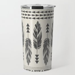 Tribal Feathers-Black & Cream Travel Mug