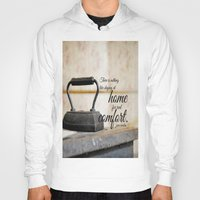 jane austen Hoodies featuring Jane Austen Quote Staying Home Real Comfort by KimberosePhotography