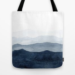 Indigo Abstract Watercolor Mountains Tote Bag