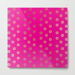 Elegant and Girly Faux Gold Glitter Dots Hot Pink Metal Print
