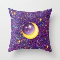 emoji Throw Pillows featuring Emoji Moon by jajoão