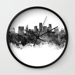 St. Paul skyline in black watercolor Wall Clock