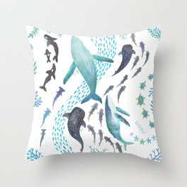 Sharks, Humpback Whales, Orcas & Turtles Ocean Play Print Throw Pillow