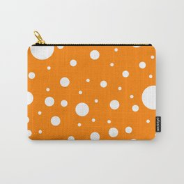 Mixed Polka Dots - White on Orange Carry-All Pouch