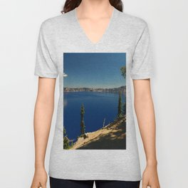 The Deep Blue Of The Crater Lake Unisex V-Neck