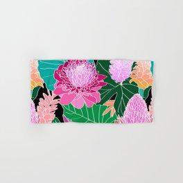 Tropical Botanical Pond in Black Hand & Bath Towel