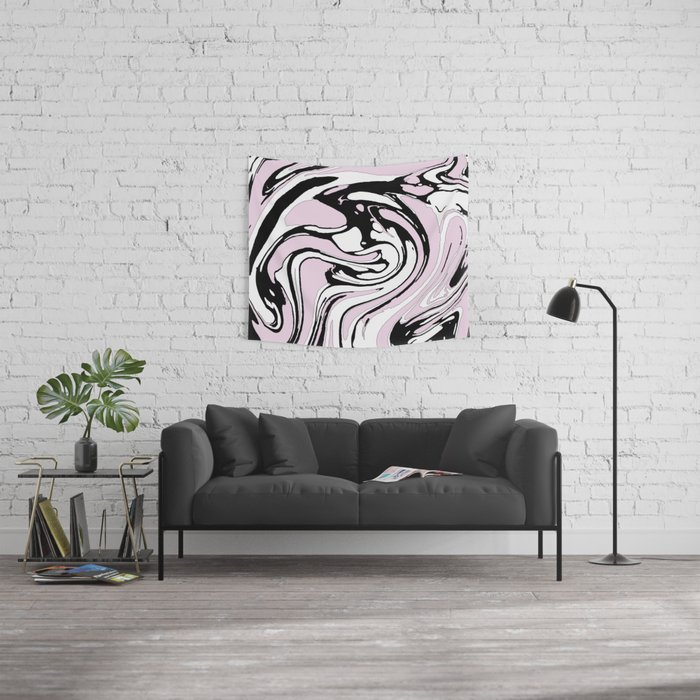Black, White and Pink Graphic Paint Swirl Pattern Effect Wall Tapestry