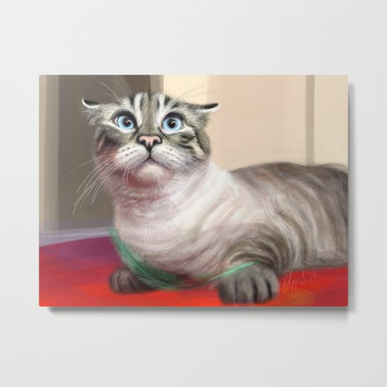 Cat Surprised Funny Animals with Feather Siamese Lynx-Point Metal Print