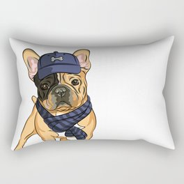 Cute puppy pug in baseball hat and scarf. Rectangular Pillow