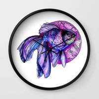 goldfish Wall Clocks featuring Goldfish by Slaveika Aladjova