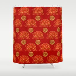 Peonies and Gold Double Happiness Symbol Pattern Shower Curtain