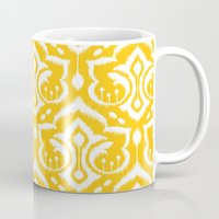 damask Mugs featuring Ikat Damask by Patty Sloniger