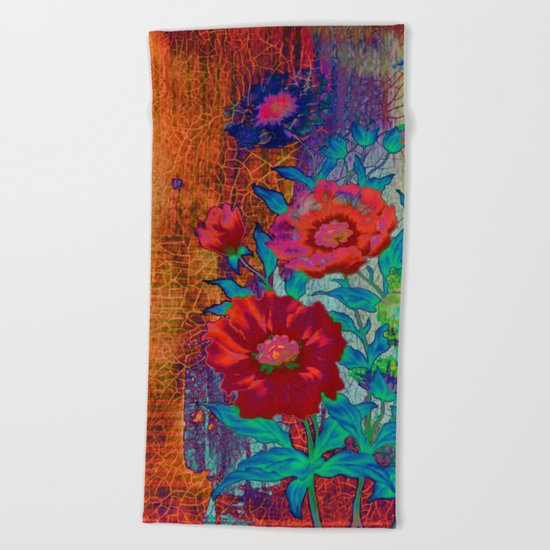 floral old tile Beach Towel