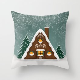 Gingerbread Cottage  Throw Pillow