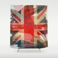 union jack Shower Curtains featuring Union Jack by Honeydripp Designs