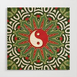 Red Yin Yang Sun Festive Mandala Wood Wall Art