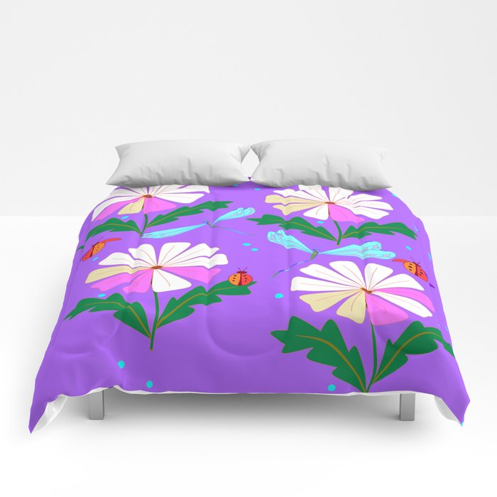 A Spring Rain on Daisies with Lady Bugs and Dragonflies Comforters