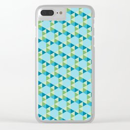Retro Pattern Hexagons and Triangles Blue/Green Clear iPhone Case
