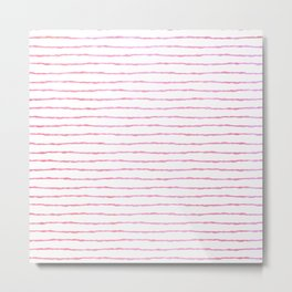 fine pink handpainted stripes on clear white Metal Print
