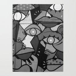 Faces Graffiti (Black and White) Poster