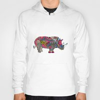 rhino Hoodies featuring Rhino by Green Girl Canvas