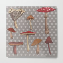 Mushroom Madness in Gray Metal Print