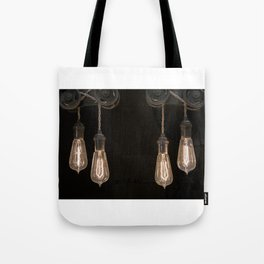 Industrial Vintage Light Bulbs Hanging from Pulleys Tote Bag