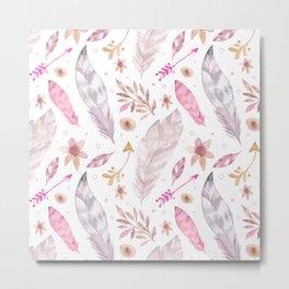 Watercolor Boho Feather Pattern Metal Print