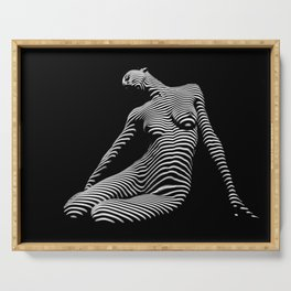 0075-DJA Zebra Seated Nude Woman Yoga Black White Abstract Curves Expressive Line Slim Fit Girl Serving Tray