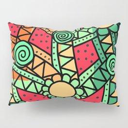 Doodle Art Flower - Pathways - Red Blue Pillow Sham